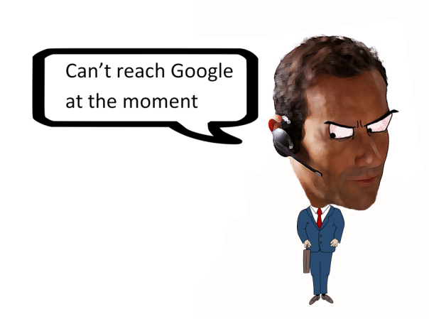 Cartoon of man using headset