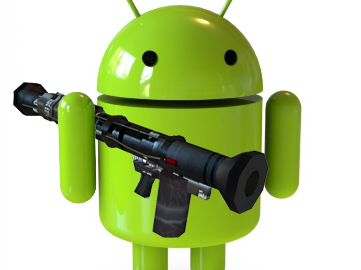 Android with a rocket launcher