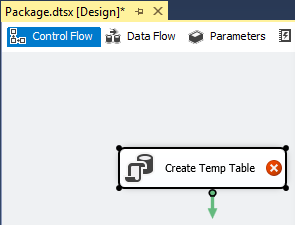 Image showing Execute SQL Task Create Temp Table