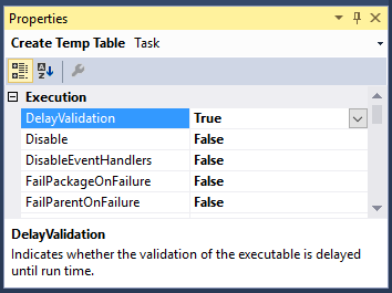Image of Create Temp Table Task Properties showing DelayingValidation option set to True