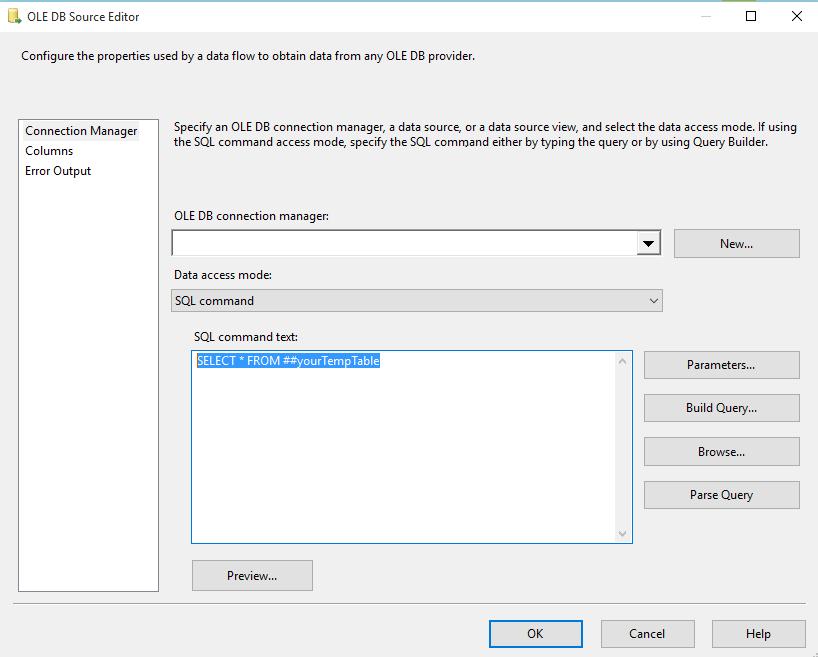 Image of the OLE DB Source Editor Window