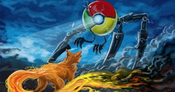 Image of a small firefox facing off against a giant mechanical chrome monster
