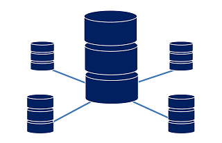 Five Database icons arranged in a star with the largest one in the center