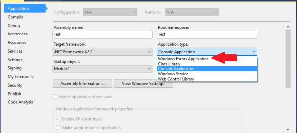 How to create a console application in Visual Studio that