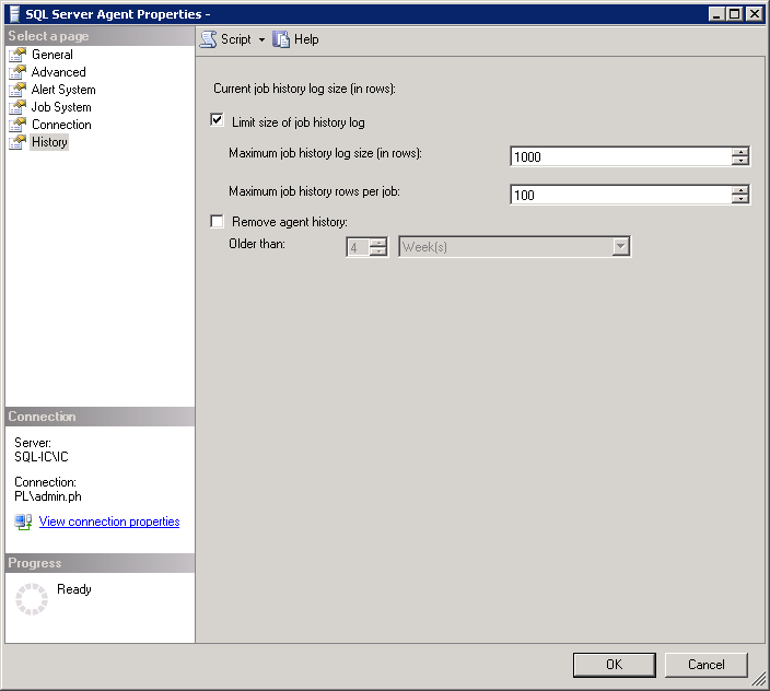 Picture showing SQL Server Agent Properties Window