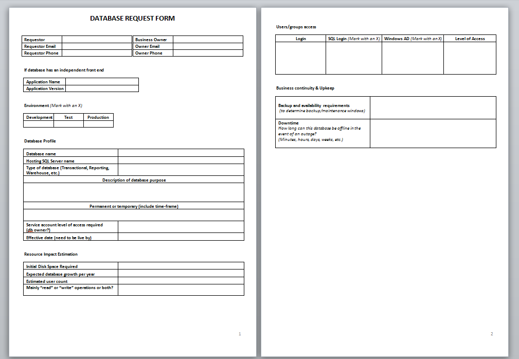 DATABASE REQUEST FORM image